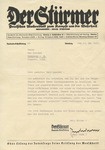 Julius Streicher's <i> Der Sturmer </i> Editor Paul Wurm Correspondence with Anti-Semitic Motto