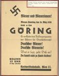 Broadside Announcing Speech by Hermann Goering in Vienna