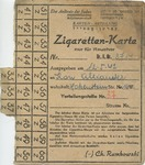 Litzmannstadt Ghetto Ration Card for Cigarettes