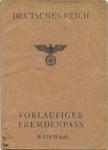 Fremdenpass (Alien Passport) for Rene Lambrechts