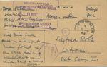 Postcard from Dora Huttman in Jerusalem to Sigfried Roiz, Latrun Detention Camp I, Palestine