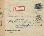 Censored Registered Bank Cover from Oslo, Norway to the American Friends (Quaker) Service Committee in Berlin