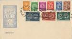 Doar Ivri First Day Cover, Full Set of Nine Stamps, Tel Aviv Cancels
