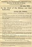Translated German Broadside Demanding the Surrender of the Isle of Jersey, Channel Islands