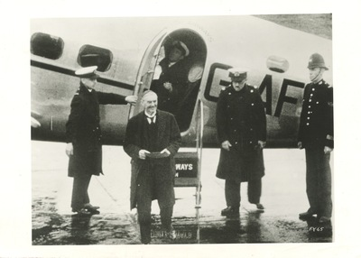 Neville Chamberlain Arriving at Heston Airport