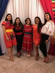 Betania stands next to her best friend Daniela, Emily, Jamie and Sofia all dressed up in traditional Mexican clothing and heels (2018) by Betania Escobar