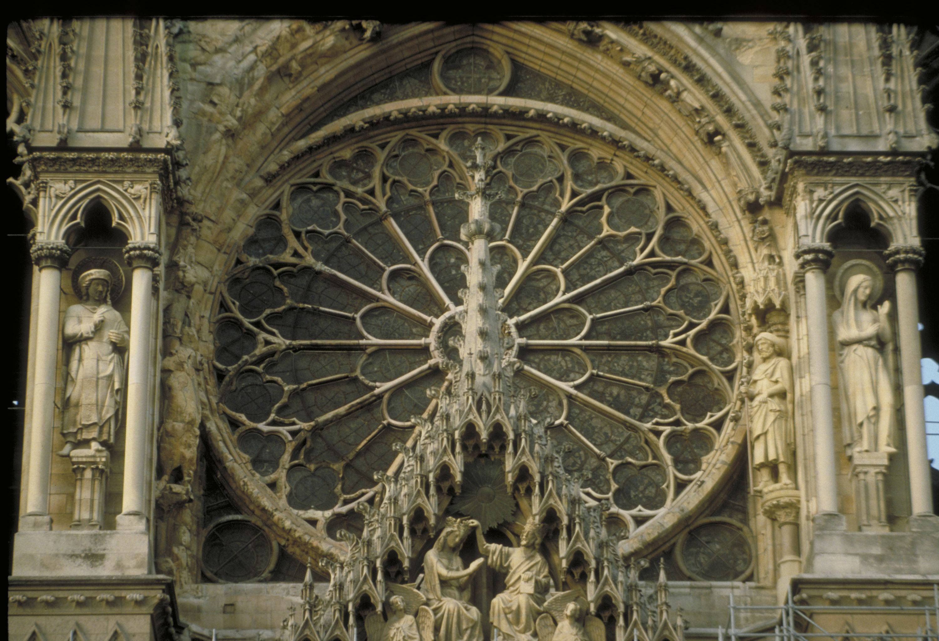 Reims Cathedral Detail Of Rose Window Above Central Tympanum With Gable Sculpture The Coronation Virgin 13th Century