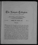 Kenyon Collegian - January 1899