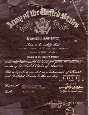 Stanley White's Honorable Discharge Papers ca. 1945