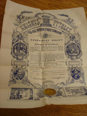 Thompson Cooper Lodge of Knights of Pythias Charter