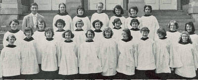 Barbara Stevens and Mount Vernon High School Glee Club, ca. 1955