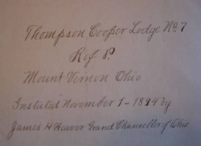 Inside cover Thompson Cooper Lodge of Knights of Pythias Installation Book, ca. 1894