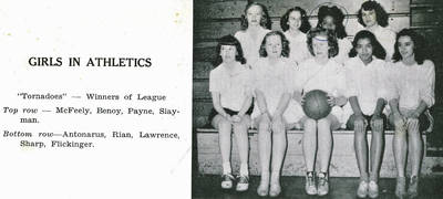 Vera Payne and Peggy Sharp, Mount Vernon Girls Basketball, ca. 1945