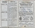 Steel Workers Organizing Committee Membership Book