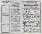 Steel Workers Organizing Committee Membership Book