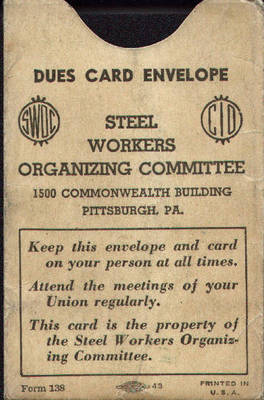 Steel Workers Organizing Committee Dues Envelope ca. 1937