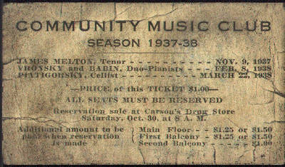 Community Music Club Ticket ca. 1937
