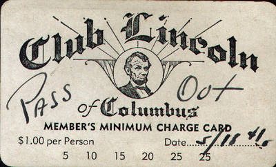 Club Lincoln of Columbus Charge Card ca. 1941