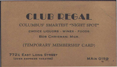 Club Regal Temporary Membership Card ca. 1937
