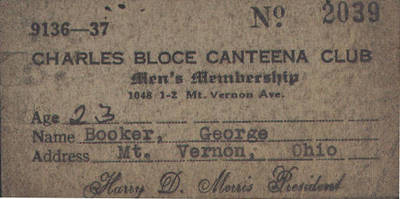 Charles Bloce Canteena Club Membership Card ca. 1937