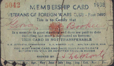 Veteran of Foreign Wars Club Membership Card ca. 1938