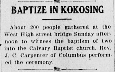 The Democratic Banner: Baptisms on the Kokosing River