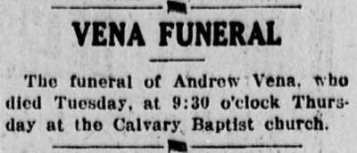 The Democratic Banner: Vena Funeral at Calvary Baptist Church