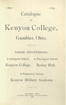 Catalogue of Kenyon College, Gambier, Ohio. 1892-1893
