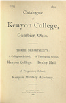 Catalogue of Kenyon College, Gambier, Ohio. 1893-1894