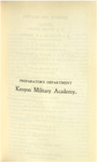 Preparatory Department Kenyon Military Academy Course Catalog 1900-1901