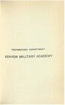 Preparatory Department Kenyon Military Academy Course Catalog 1903-1904