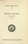 Kenyon College Bulletin No. 47 - Kenyon College Catalogue 1915-1916