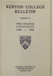 Kenyon College Bulletin No. 79 - Kenyon College Catalogue 1922-1923