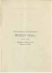 Theological Department Bexley Hall Course Catalogue 1905-1906