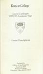 Kenyon College Course Catalog 1989-1990