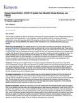 Kenyon News Bulletin March 20, 2020
