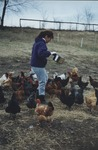 Kate Helt feeding her chickens some grain