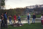 Students around the Fire Pit