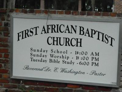 First African Baptist Church Sign