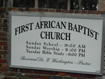 First African Baptist Church Sign