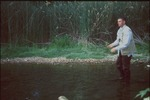 Jonathan Hughes brushing up on his fly fishing skills on the Kokosing river by Chris Grasso and Mark Tebeau