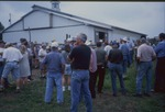Crowd outside the horse barn