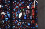 Rouen Cathedral, Good Samaritan Window (detail), the Good Samaritan stops in front of the inn with the wounded traveler on his horse