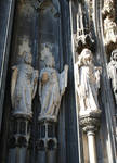 Cologne (Koln) Cathedral of St. Peter and St. Mary, jamb figures of saints (St. Simon the Zealot? on left), High Gothic, Cologne, Germany