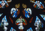 Sens Cathedral, St. Stephen's Cathedral, Angelic Musicians, detail of north transept rose window, Flamboyant Gothic stained glass, early 16th century, France.