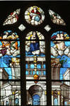 Sens Cathedral, St. Etienne (St. Stephen), Virgin and Child surrounded by Angels and God the Father, 16th century, Gothic/Renaissance stained glass, France.
