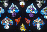 Sens Cathedral, St. Stephen's Cathedral, Angelic Musicians and Colorful Angels, detail of north transept rose window, Flamboyant Gothic stained glass, early 16th century, France.