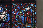 Rouen Cathedral, Good Samaritan Window (detail), the priest after giving his speech, continues on his way