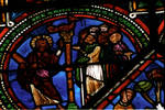 Sens Cathedral, St. Etienne (St. Stephen), apse window L, Good Samaritan Window, Christ debating the Elders in the Temple, 13th century, Gothic, stained glass, France.