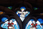 Sens Cathedral, St. Stephen's Cathedral, Angelic Musician Playing the Zither, detail of north transept rose window, Flamboyant Gothic stained glass, early 16th century, France.